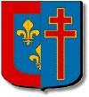 Maine et Loire : parti : au premier mi-parti d'azur aux trois fleurs de lys d'or et à la bordure cousue de gueules, au second aussi d'azur à la croix patriarcale de gueules bordée d'or