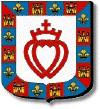 Vendée : d'argent au double coeur vidé, couronné et croiseté de gueules, à la bordure componée d'azur à la fleur de lys d'or et de gueules au château donjonné de trois tourelles aussi d'or