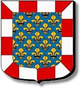Indre et Loire : d'azur semé de fleurs de lys d'or à la bordure componée d'argent et de gueules