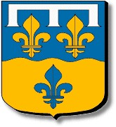 Loir et Cher : coupé ondé : au premier d'azur aux deux fleurs de lys d'or surmontées d'un lambel d'argent, au second aussi d'or à la fleur de lys aussi d'azur