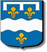 Loiret : d'azur à la devise ondée d'argent accompagnée de trois fleurs de lys d'or, le tout surmonté d'un lambel aussi d'argent
